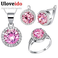 Special price Uloveido Silver Color Wedding Accessories Crystal Bridal African Costume Jewelry Sets with Pink Stones Cubic Zirconia T438 just only $7.99 with free shipping worldwide  #weddingengagementjewelry Plese click on picture to see our special price for you