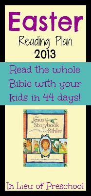 The Jesus Storybook Bible Reading Plan for Easter 2013 created by In Lieu of Preschool This is the most awesome book I have ever read with my children. I am choked up after every reading. Easter Activities, Holiday Activities, Educational Activities, Resurrection Day, Sunday School Teacher, Preschool At Home, Bible Lessons, Kids Education, Book Recommendations