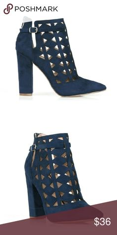 """Navy Cutout Booties Navy high heel booties with stunning laser cut-outs, back zipper enclosure, and a comfortable block heel.  Product Features  Faux suede, rubber outsole, 4"""" heel  (5.5-9,10) Please comment with size to preorder. Shoes Ankle Boots & Booties"""
