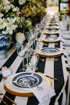 Getting lost in the loveliest of destination weddings sounds like one fabulous way to spend this Friday, don't you think? Well, I plan to do just that - and this stunning Dominican Republic wedding as. Striped Wedding, Nautical Wedding, Vintage Nautical, Gold Wedding, Reception Decorations, Event Decor, Table Decorations, Centerpieces, Estilo Navy