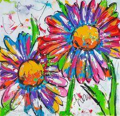 Vrolijk Schilderij, dieren, abstract, schilderij,Bloemen