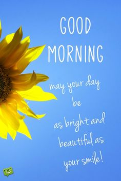 Good Morning. May your day be as bright and beautiful as your smile.