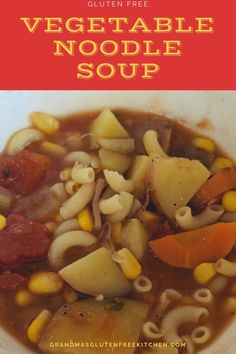 This is an easy soup recipe that doesn't take all day to cook. Packed with Veggies and simple ingredients to make supper nutritious and delicious #glutenfreesoup #noodlevegetablesoup #glutenfree Gluten Free Buns, Gluten Free Noodles, Gluten Free Soup, Gluten Free Chicken, Gluten Free Recipes, Gluten Free Kitchen, Gluten Free Cooking, Easy Soup Recipes, Gourmet Recipes