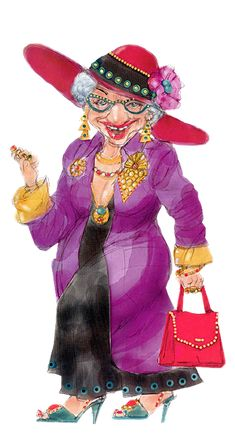 """Photo from album """"Бабульки"""" on Yandex. Old Lady Humor, Red Hat Ladies, Red Hat Society, Art Impressions, Red Hats, Girl With Hat, Whimsical Art, Funny Cartoons, Old Women"""
