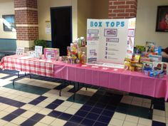 Back to school night table.  I had a raffle to win free groceries as well as information about some of the painless fundraisers -- such as Box Tops for Education and Labels for Education.