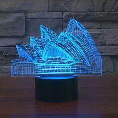 Color Changing Night Light Indoor Sydney Opera House night light australia led bulb USB Novelty Light For gifts Lampe 3d, Laser Cutter Projects, Novelty Lighting, Art And Technology, Hologram Technology, Led Night Light, Night Lights, Luz Led, Lamp Design