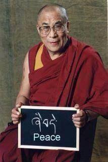 Dalai-lama. Écriture tibétaine. Paix. Peace.