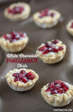 white chocolate pomegranate tarts on overtimecook