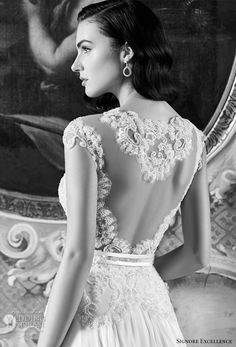 signore excellence 2017 bridal cap sleeves illusion low back wedding dress (elodie) zbv