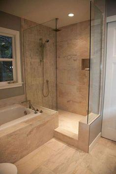Bathroom Organization Shower - 42 Pleasant Small Bathroom Shower With Tub Tile Design Ideas. Bathroom Shower Panels, Best Bathroom Tiles, Small Bathroom With Shower, Bathroom Tile Designs, Bathroom Renos, Bathroom Design Small, Dream Bathrooms, Beautiful Bathrooms, Bathroom Interior Design