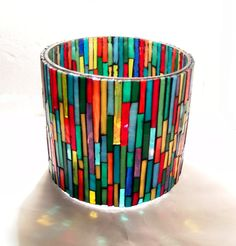Mosaic candle holder, Colorful tea light holder, Christmas gift