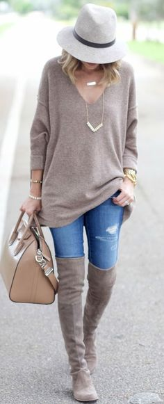 Thigh high boots, skinny jeans and a simple sweater