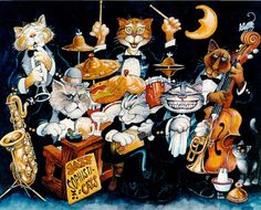Jazz Sophisticats by Bill Bell ~ whimsical music themed art