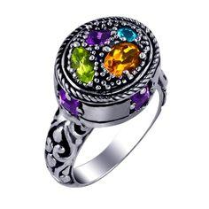 Sterling Silver 925 Amethyst Citrine Ring Size 8 Gemstone Bali Design