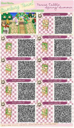 Animal Crossing New Leaf QR codes Bumbury Lawn Forest Cobble