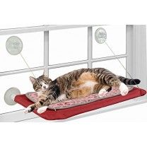 Cushioned Window-mounted Cat Bed , Deluxe Model Cat Perch / Seat with Removeable Cushion and Insdustrial Suction Cup