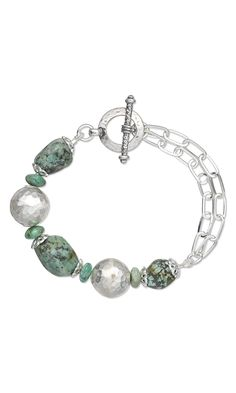 """Jewelry Design - Bracelet with African """"Turquoise"""" Gemstone Beads, Hill Tribes Fine Silver Beads and Sterling Silver Chain - Fire Mountain Gems and Beads"""