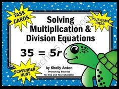 FREE Algebra: Solving Multiplication and Division Equations - You will receive 6 math task cards with a mix of multiplication and division equations. Math Division, Multiplication And Division, Seventh Grade Math, Eighth Grade, High School Posters, One Step Equations, Special Education Math, Math School, Math Task Cards