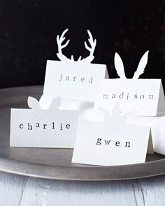 Sweet Paul's friend Lova made these beautiful placecards! Lova's World: Animal Placecards noel christmas Noel Christmas, Green Christmas, Christmas Wedding, Christmas Crafts, Christmas Decorations, Xmas, Christmas Ideas, Winter Christmas, Christmas Lights