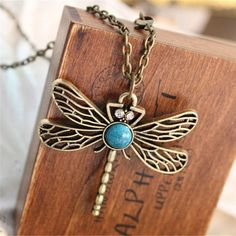 2016 New Vintage Jewelry Retro Hollow Dragonfly Korean Long Paragraph Sweater Chain Pendant Necklace For Women x5