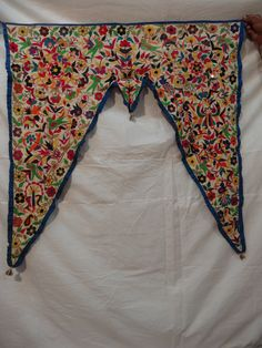 Toran door window valance antique kutch rabari banjara handmade embroidery Indian vintage textile wall hanging decor ethnic art by jaisalmerhandloom on Etsy https://www.etsy.com/listing/214457111/toran-door-window-valance-antique-kutch