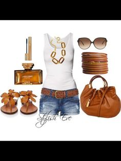 Casual Summer wear ... Love the tobacco accessories to compliment a beautiful golden glow. Ahhhhhhhh summer come fast!