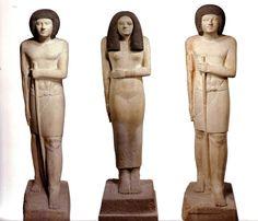 Statues de Sépa et de Nésa - Louvre A38, A37, A36 - AE, IIIe dynastie - BE, Saqqara (?) - calcaire peint - H.: 154,5, 169 cm, 169 cm