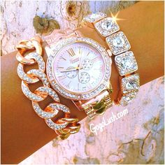 Kinda love this bling! Maybe just the bracelets or just the watch though. Jewelry Accessories, Fashion Accessories, Fashion Jewelry, Fashion Earrings, Lila Outfits, Diamond Are A Girls Best Friend, Mode Style, Girly Things, Bracelet Watch