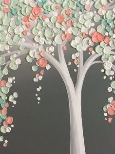 Verde menta y melocotón Coral arte árbol textura vivero