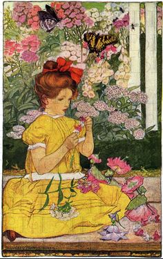 Wonderful GARDEN And Girl.  VINTAGE  ILLUSTRATION. Garden Digital Download. Elizabeth Shippen Green on Etsy, $1.99