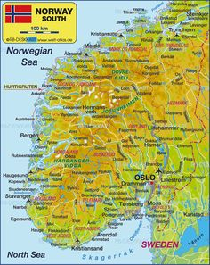 Map of South Norway (Norway)