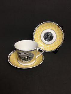 Rare Roy Kirkham Bone China Large Teacup And 2 Saucers Rural Scenes Black Yellow