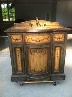 "Stein World Hand Painted Bowfront Bathroom Vanity | eBay 37""W x 19""D (22""D at Center) x 34 1/2""H $1,395"