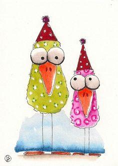 ACEO Original Painting Folk Art Lucia Stewart Whimsical Spring Bird Party Hats | eBay