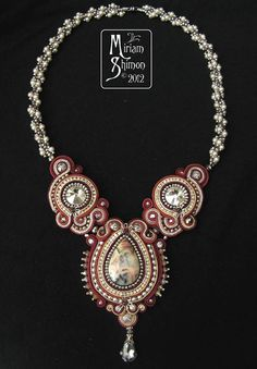 More beautiful soutache from Miriam Shimon: Mangolia necklace in Silver and Burgundy
