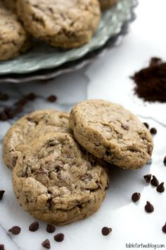 Coffee in chocolate chip cookies!  Does that make them a breakfast food? Maybe a pre-run energy bar replacement?   Cafe Mocha Cookies from www.tablefortwoblog.com