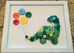 Framed Kids Button Art Dinosaur with Balloons on by ChampsyKids Baby Crafts, Diy And Crafts, Arts And Crafts, Christmas Canvas Art, Button Picture, Diy Décoration, Box Frames, Craft Activities, Birthday Decorations