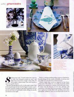 Little Luxuries: Blue Fluted Dinnerware in Veranda Magazine