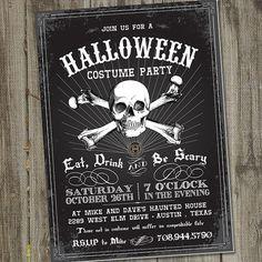 Vintage Skull Retro Halloween Printable Party Invitation