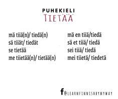 """Learn Finnish by my way on Instagram: """"Puhekieli  Tietää = to know  #puhekieli #slangit #finnishslangs #opisuomea #learnfinnish #suomenkieli #finnishlanguage #learnfinnishbymyway…"""" Math Equations, Instagram"""