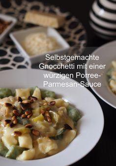 Selbstgemachte Gnocchetti mit einer würzigen Porree-Parmesan-Sauce passen perfekt zu einem leckeren Abend zu zweit. | Das Rezept gibt es auf: www.sarahs-greenfield.blogspot.com