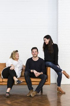 The team behind the stapleandcoXcmstudio collaboration. Megan and Chris of cm studio (sitting) with Shelley from Project Sofa Design, Furniture Design, Tan Leather Sofas, Linen Sofa, Business Portrait, Modular Sofa, Fabric Sofa, Leather Design, Furniture Collection