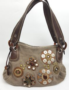 Fossil handbag khaki green rough-weave linen leather embellished with circles #Fossil #Hobo