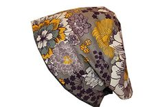 Scrub Hat Surgical Chef Nurse EuroGlam Pixie European Grey Yellow Purple Floral *** You can find more details by visiting the image link.(This is an Amazon affiliate link)