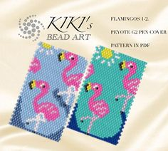 Peyote pen cover patterns- flamingos, peyote patterns, 2 variations for pen wrap -for G2 pen by Pilot-in PDF instant download