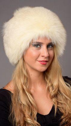 Cappello volpe della Groenlandia bianco crema naturale  www.amifur.it