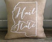 Burlap Pillow Hotty Toddy Gosh Almighty Ole by TwoPeachesDesign