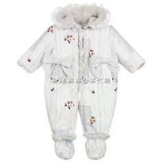 Baby girls grey padded pramsuit by Lapin House, with a knitted-look print. It has super soft plush trims and sparkling ribbons on the front. The suit comes with plush, fur-lined booties that attach to the ankles with buttons. Baby Suit, Snow Suit, Kids Online, Raincoat, Trousers, Baby Girls, Booty, Style Inspiration, Suits