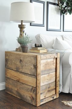 Make these rustic, farmhouse style DIY Crate Side Tables for your living room or bedroom! They are so easy to make! Tutorial here: http://www.littleglassjar.com/2017/04/25/diy-crate-side-tables/