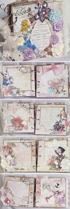 Terry's Scrapbooks: Blue Fern Studios Attic Charm Alice In Wonderland Min Album Reneabouquets Design Team Project